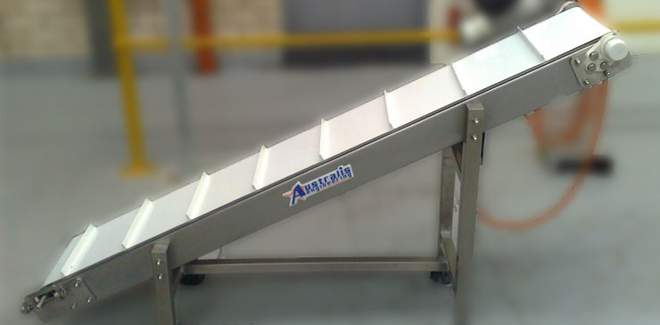 Incline Conveyors Cleated Belt Conveyor Goose Neck